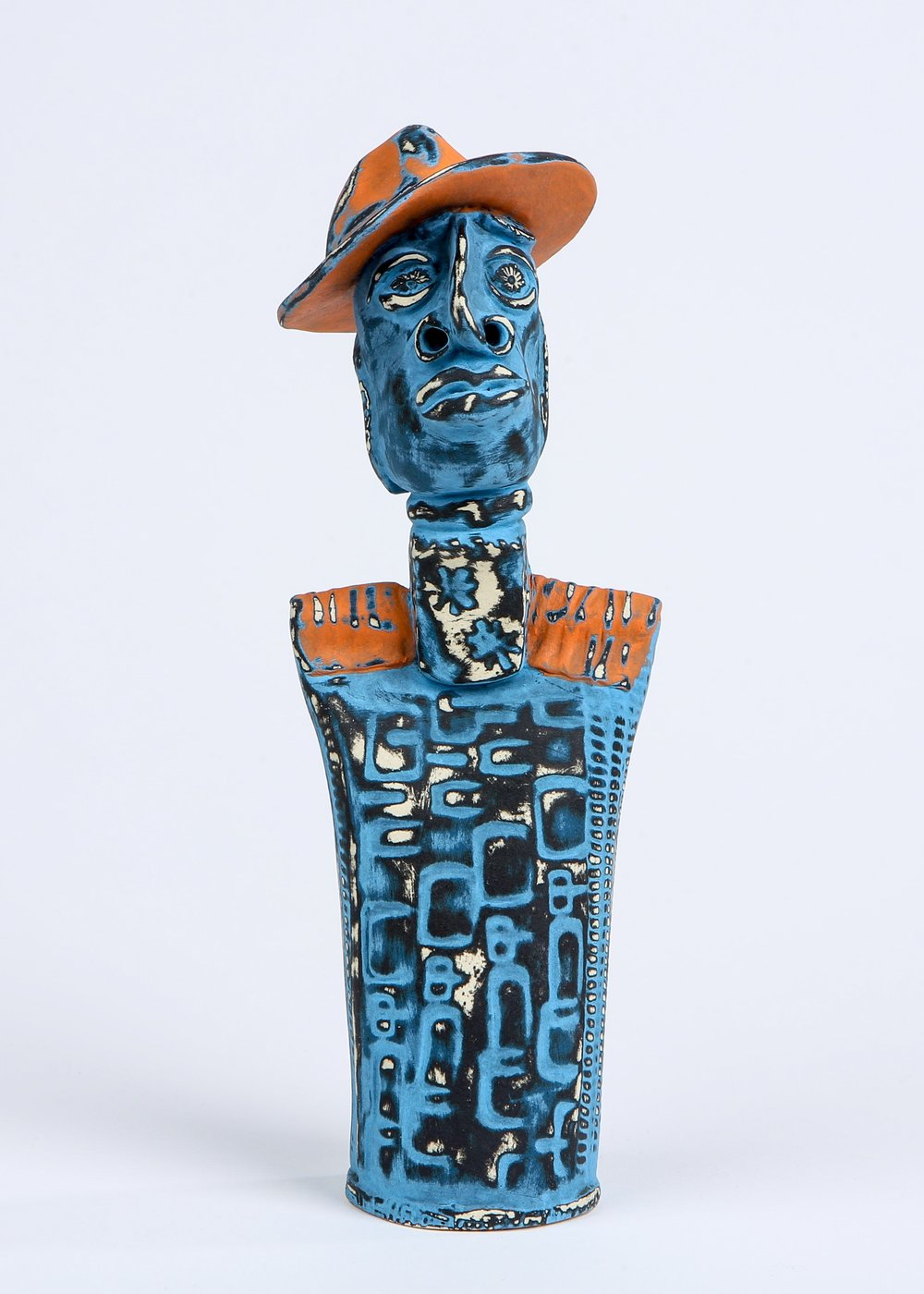 """Peppajack"" by Sharon Ramick, ceramic, 3.5x11x3.5in, 2017, POR"