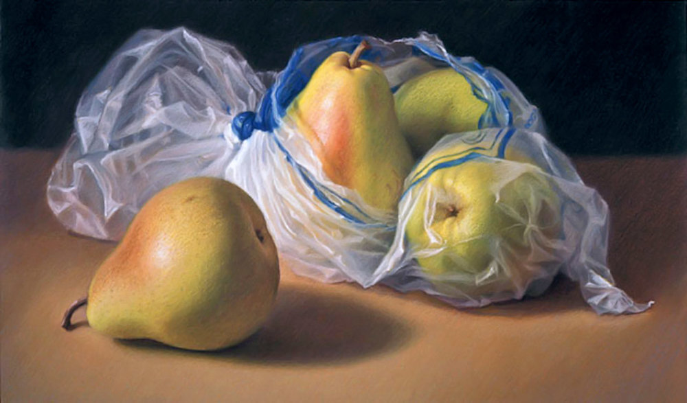 """Pears in Plastic"" by Mary Ann Currier, Oil pastel 20x34in , 1991, Private collection"