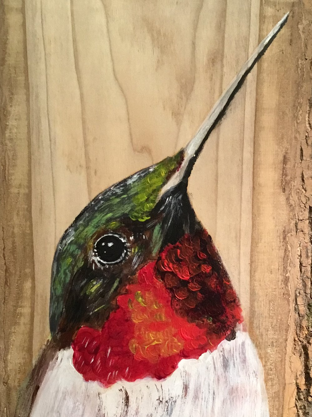 """Hummer"" by Macel Hamilton, Acrylic on wood, 10x12in, 2017, SOLD"