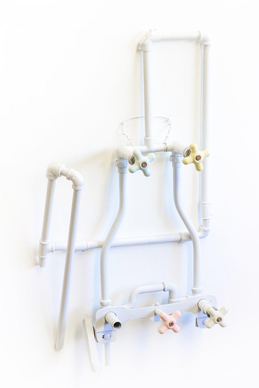 """""""Fluids"""" by Luke Gnadinger,Ceramics, Steel, Acrylic,48Hx24Wx8Din, 2017, POR"""