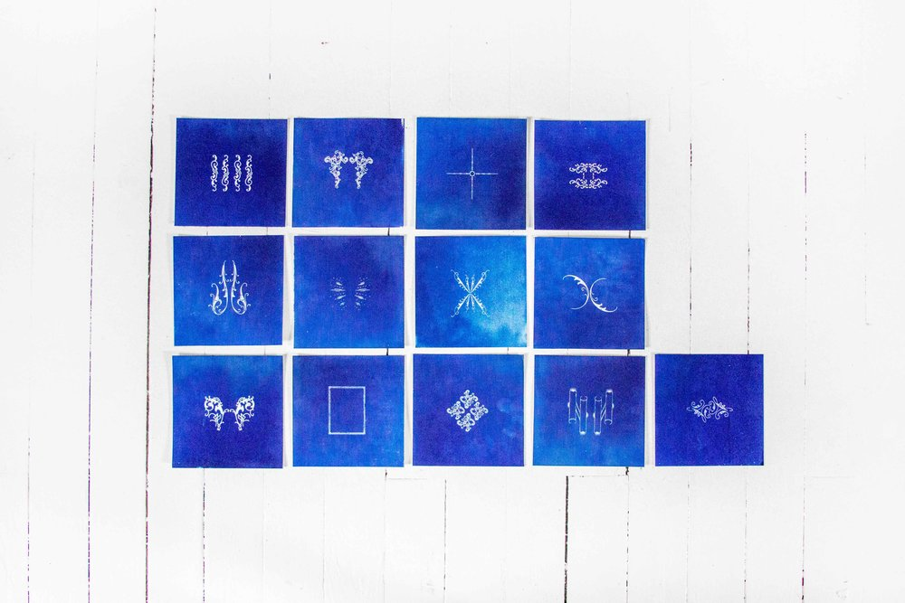"""Lagrange, #2"" by Luke Gnadinger, Cyanotype, Birch, 20Hx36Wx.5Din, 2017"