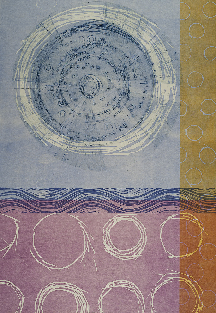 """Enso-Clarity"" by Elizabeth Foley, woodcut and collagraph, 26x38in, 2015, NFS"
