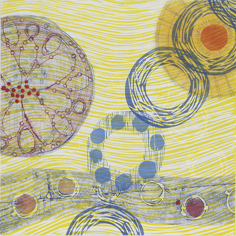 """Revolving"" by Elizabeth Foley, woodcut collagraph, 21x21in, 2017, $600 (unframed)"