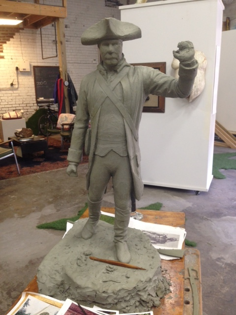 Early iteration of Matt Weir's statue of Colonel William Oldham. Photo by Keith Waits.