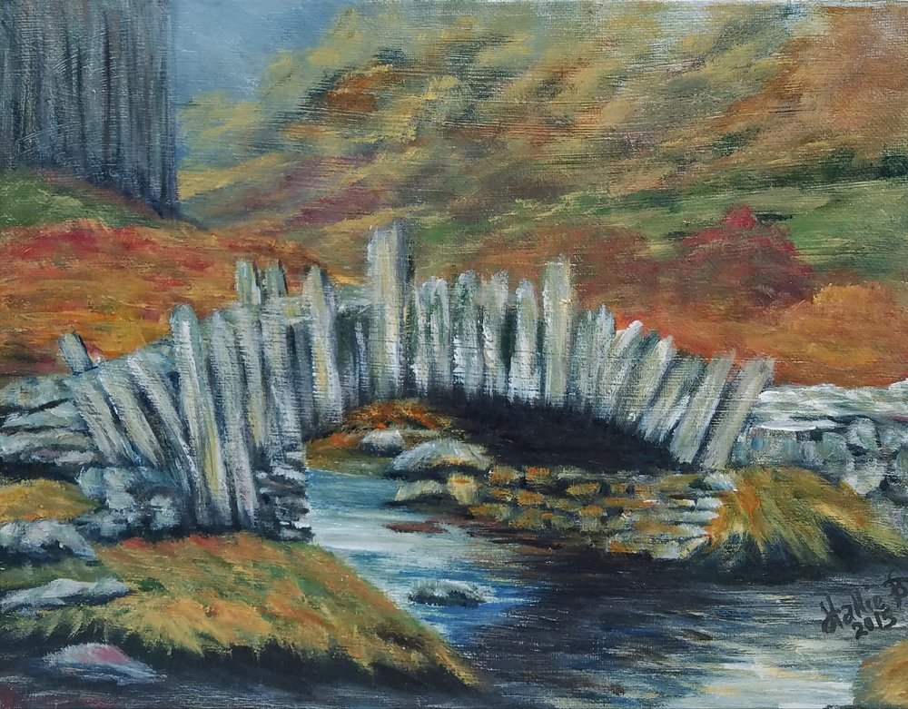 """Bridge Over The Brook"" by Hallie Brunson, acrylic, 8x10in, 2017, $65"
