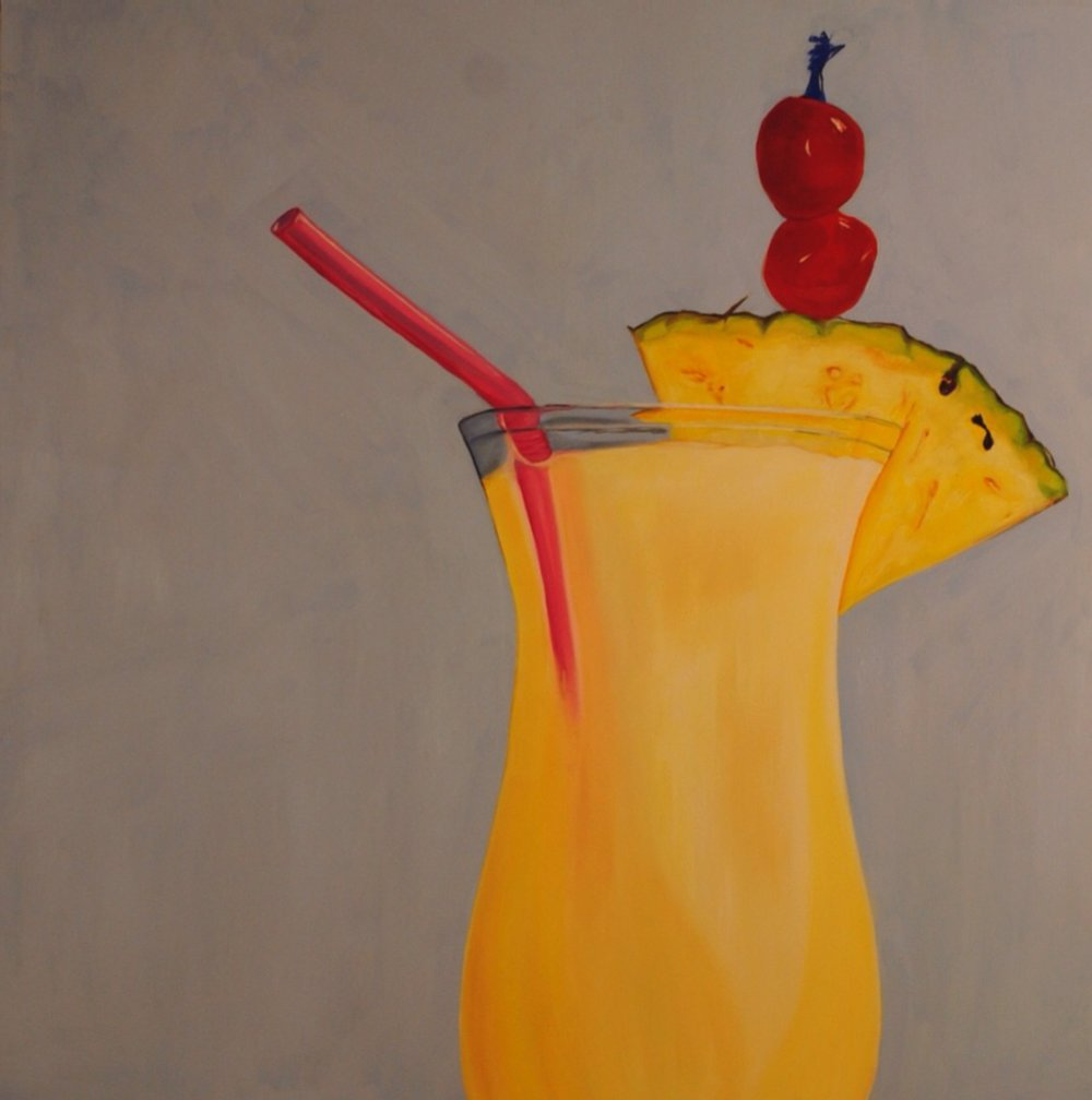 """Piña Colada"" by Alexandra Kenitzer, Oil on wood, 38x38in, 2013, $500"