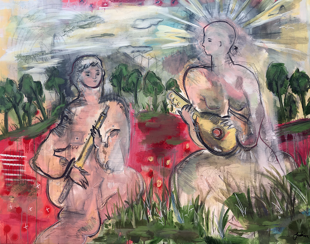 """Two Folk Musicians In Nature"" by Joshua Jenkins, Acrylic & mixed media, 60x72x1.5 in, 2017, $3000"
