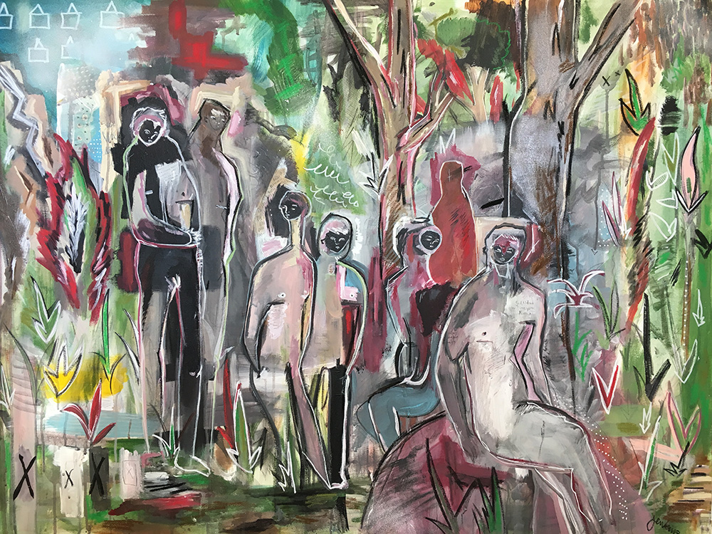 """People in the Woods"" by Joshua Jenkins, Acrylic & mixed media, 48 x 36 x 1.5 in, 2017, $2200"