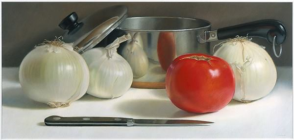 """Onions and Tomato"" by Mary Ann Currier, Oil pastel on mat board, Metropolitan Museum of Art."