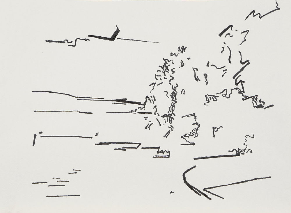 """River Drawing 70"" by Ray Kleinhelter, Ink on paper, 9.5x12in, 2017, $200."
