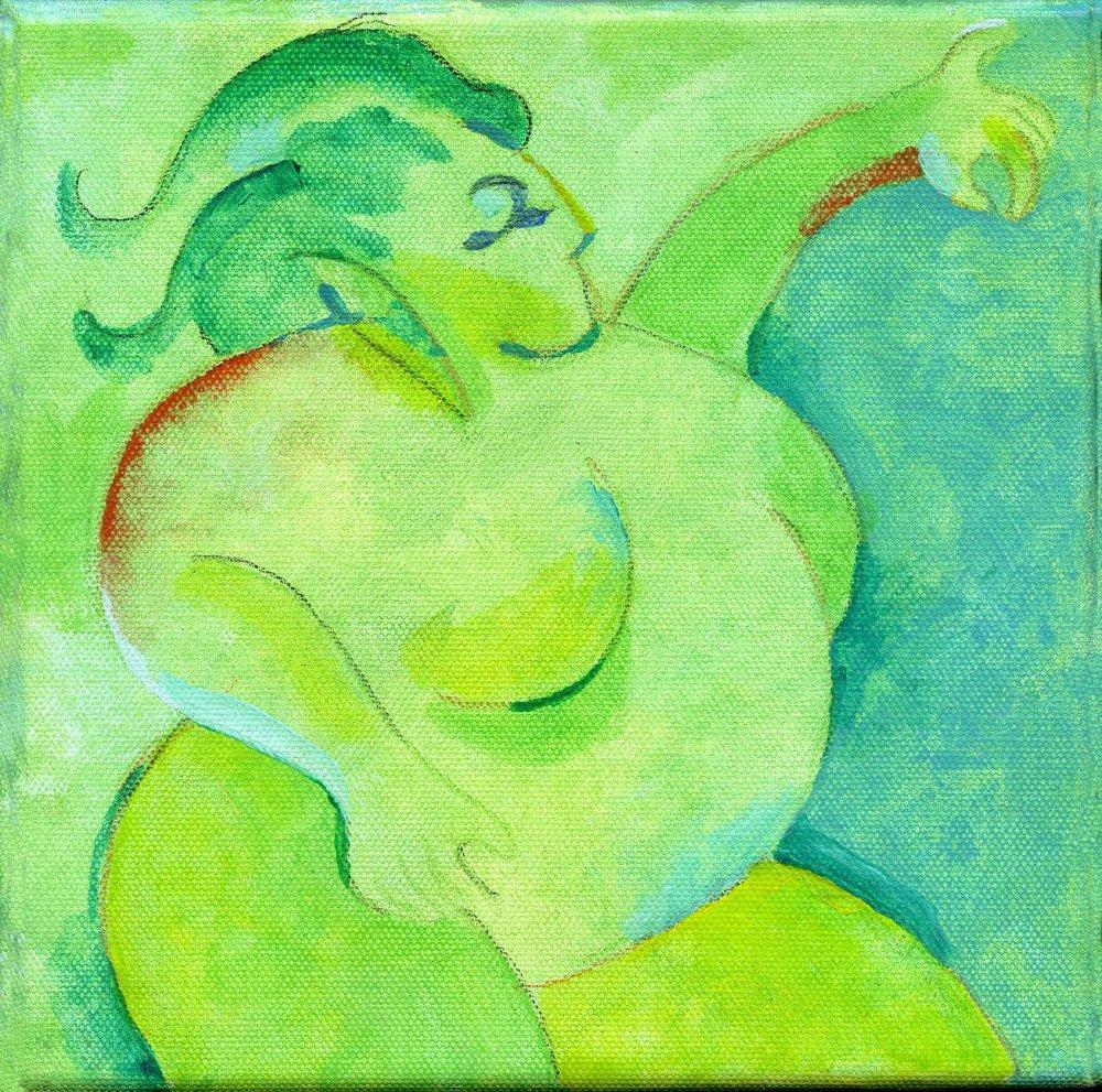 """Green Woman"" by Sid Webb, Acrylic, 8x8in, 2017, $180"