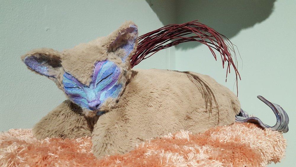 """""""Sleepy"""" by Allison Schwartz, Ceramic, wood, expanding foam, faux fur, acrylic paint, flocking,25x12.5x11in, 2017, $500"""