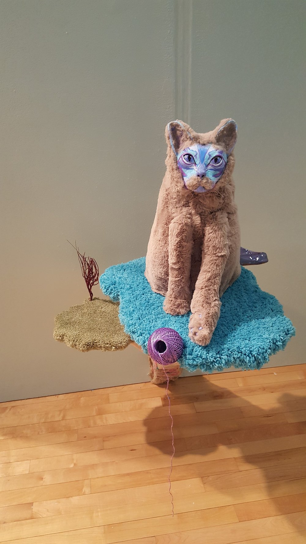 """Brat"" by Allison Schwarts, Ceramic, expanding foam, faux fur, acrylic paint, wood, flocking, 15x16x17.5in, 2017, $500 (base not included)"
