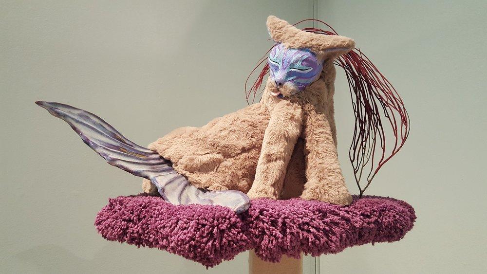 """Cleaner"" by Allison Schawrtz, Ceramic, expanding foam, faux fur, acrylic paint, wood, flocking,16x15x13in, 2017, $500"