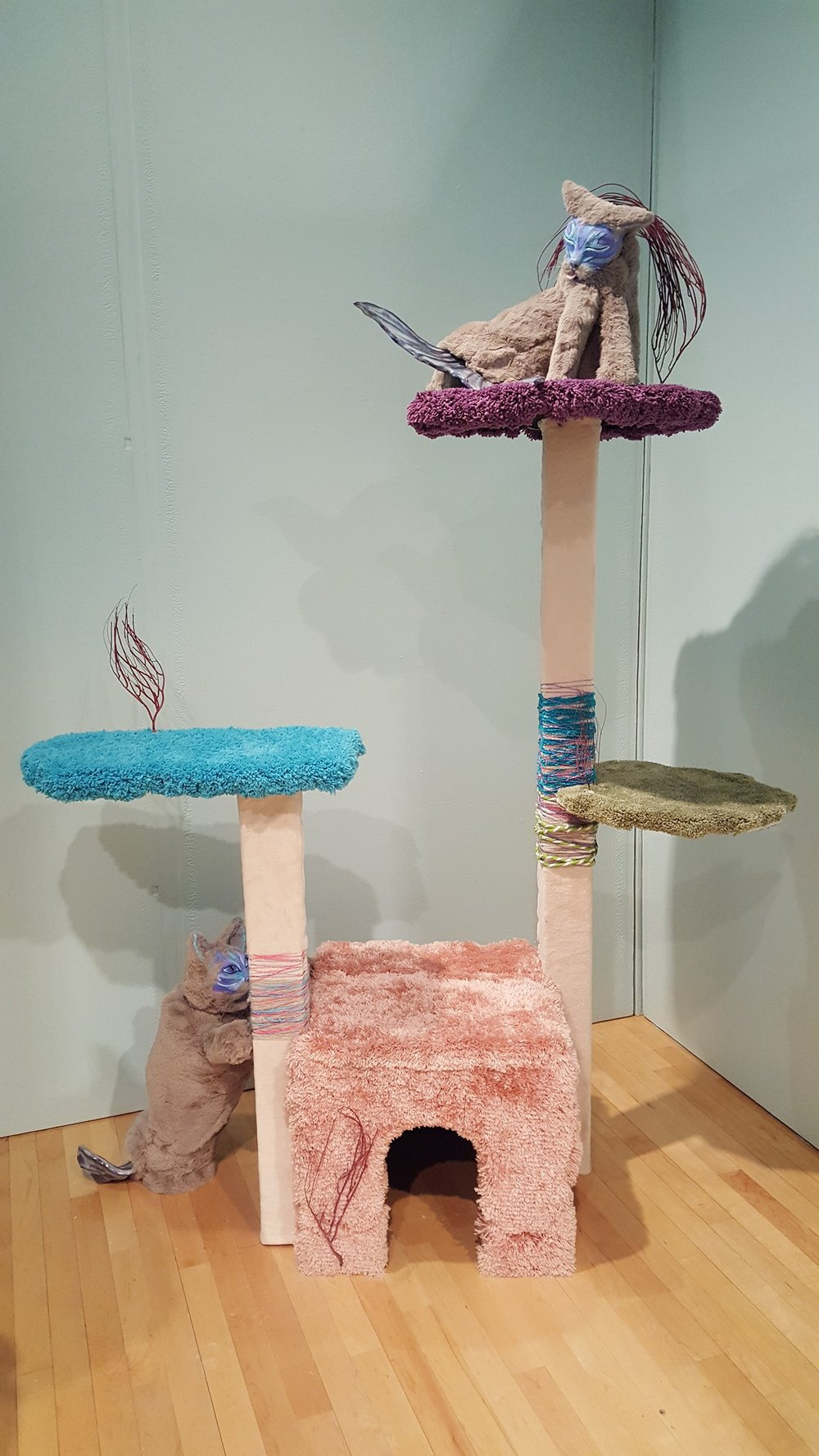 """Large Cat Tower"" by Allison Schwartz, Wood & foam, 32x24inx5ft, 2017, $500 (catfish not included - tower not built for real cats but could be adapted)"