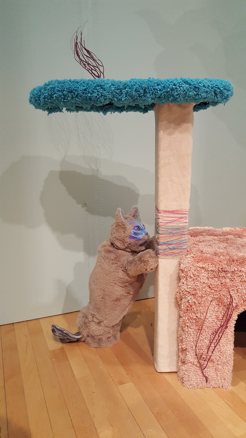 """Scratcher"" by Allison Schwarts, Ceramic, expanding foam, faux fur, acrylic paint, wood, flocking, 12.5x14x24in, 2017, $500 (tower not included)"