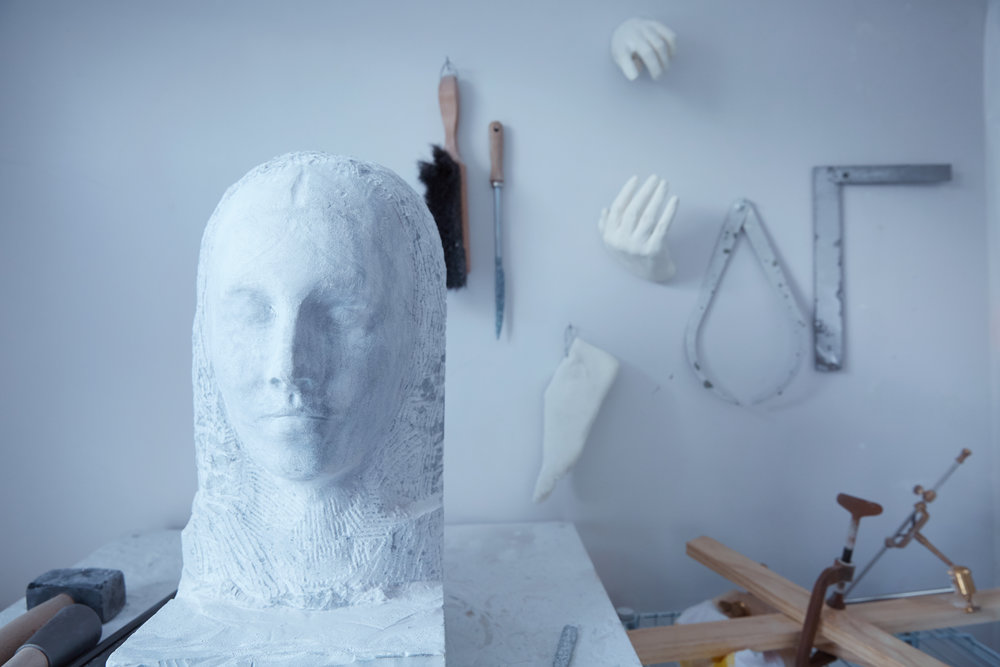 Marble bust in Hardy's studio