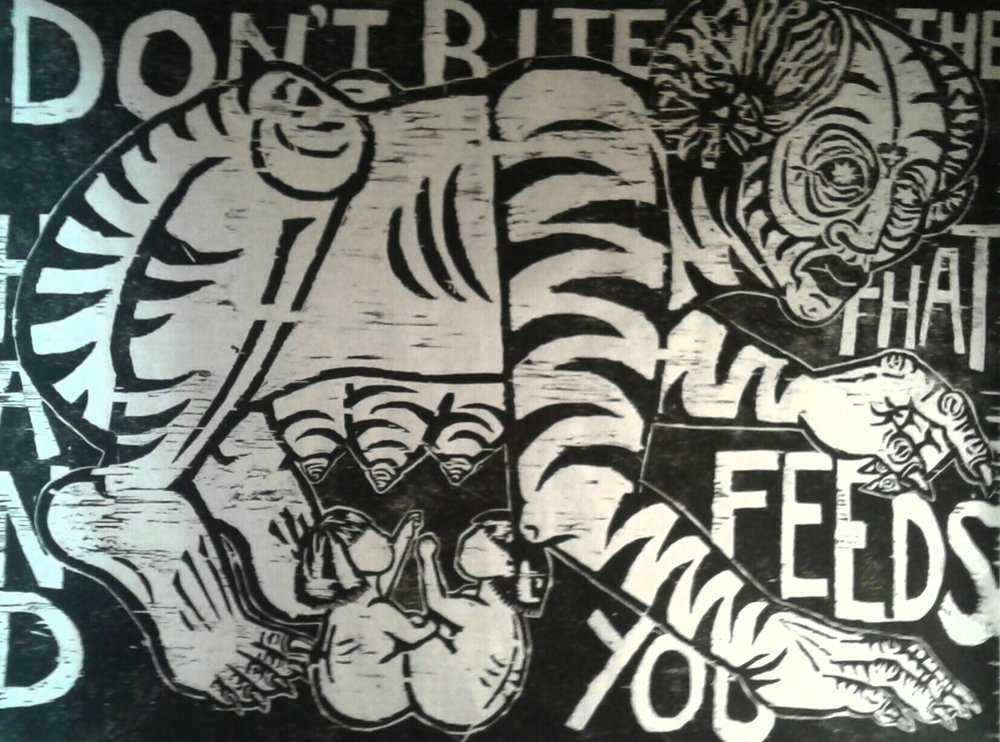 """Don't Bite The Hand That Feeds You"" by Cori Hills, Print series of 10,  black ink on Asian paper, 4x3ft, 2017, $400"