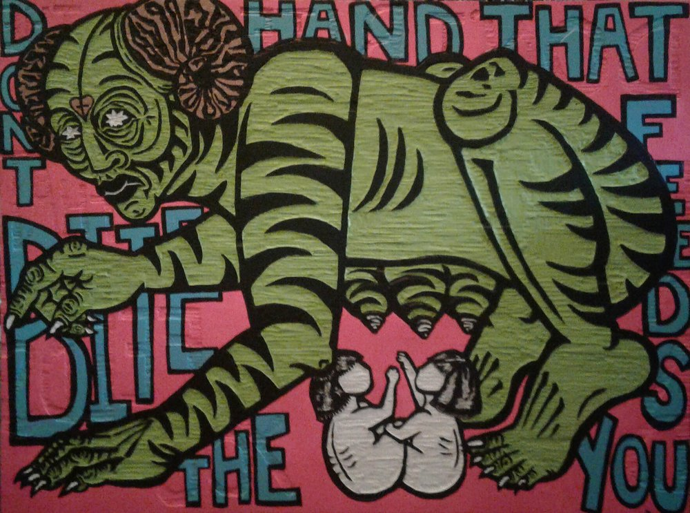 """Don't Bite The Hand That Feeds You"" by Cori Hills, Acrylic paint, spray paint on hand-carved woodcut, 4x3ft, 2017, $3500 (Prints unavailable)"
