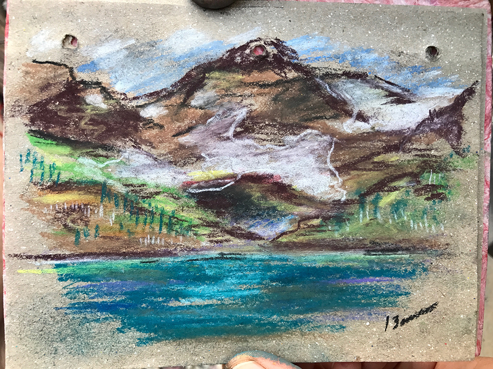"""Helen Lake"" by Karen Boone, pastel on paper, 4x6in, 2017, NFS"