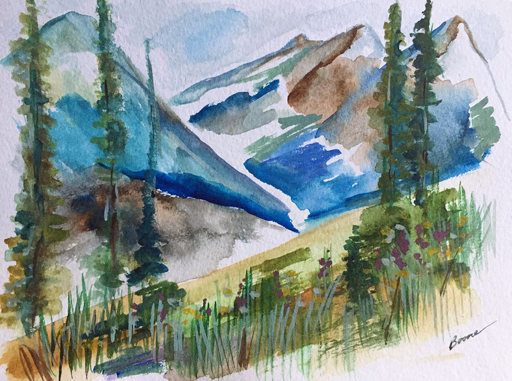 """Wildflowers Boulder Pass"" by Karen Boone, Watercolor on paper, 8x6in, 2018, NFS"