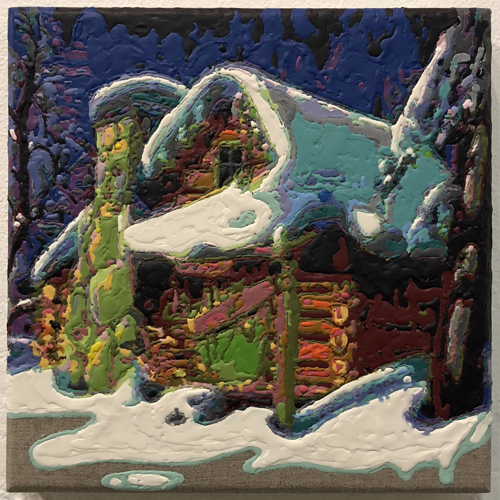 """snowed in"" by Waller Austin, crayon, gesso, linen, wood, 12x12in, 2017, $900"