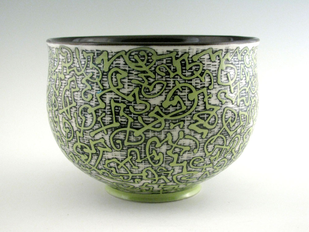 "Etched Porcelain Bowl"" by Jim Gottuso, grolleg porcelain, 6.25in diameter X 4.75in tall, 2017"