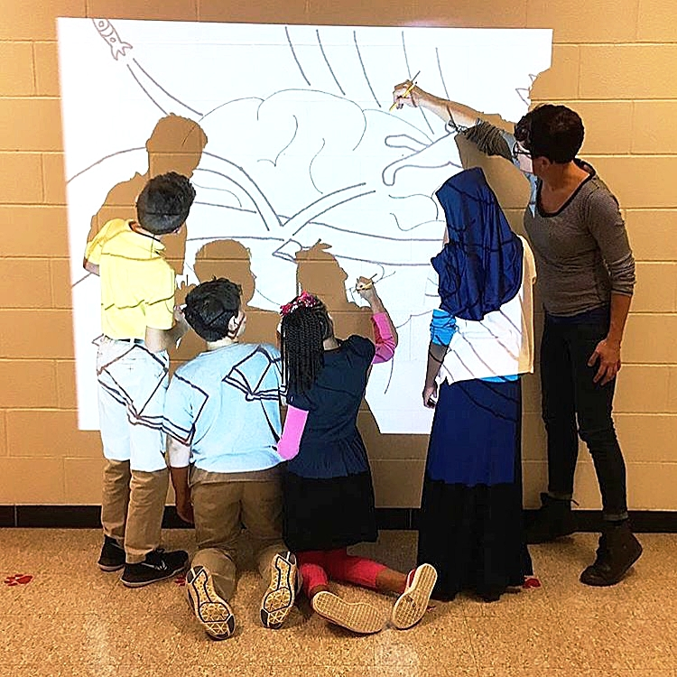 Another  mural  is beginning to go up, this one at  Kerrick Elementary School ! We'll be posting updates as the kids keep working to complete this magical project.  Thanks to  Fund for the Arts' 5x5 program  for giving these kids such a great opportunity!   Photo by  @kerrickarts    UPDATE: Here's a fantastic picture shared with us by the Fund for the Arts! Great shot, Fund!