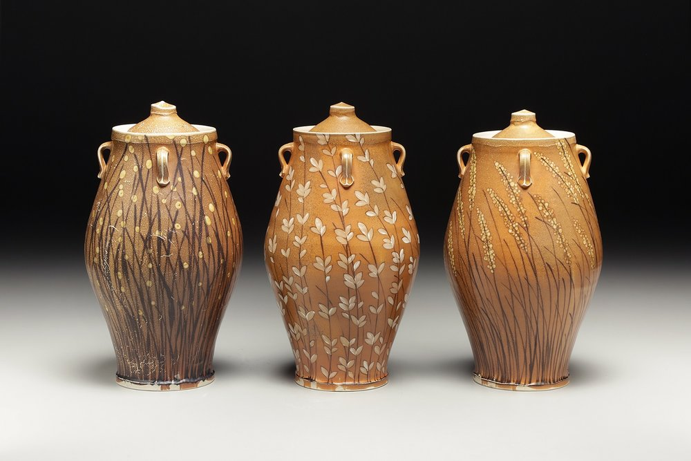 """Three Storage Jars"" by Kyle Carpenter, Stoneware, 15x8in approx, 2017, POR"