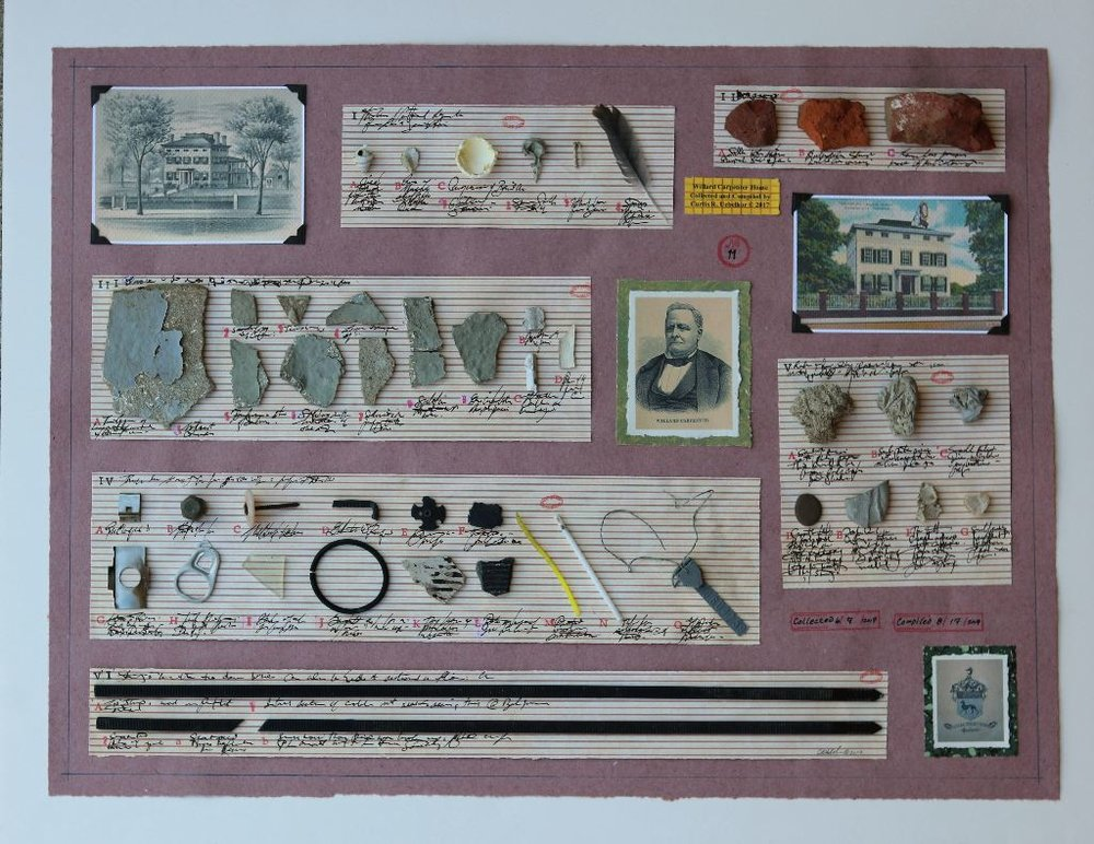 """Willard Carpenter Home- Drive-by Archeology"" by Curtis R. Uebelhor, Mixed media, 24x30x1.5in, 2017,  $350.00"
