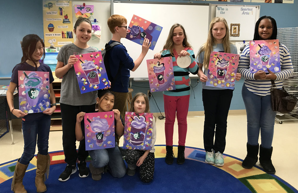 CFAC 4-6 graders at Grant Line Elementary in New Albany, in., worked with acrylic paint on canvas board to make these Unicorn Frappes! Seth especially enjoyed his!  It was a lesson in learning blending, brush control, and creating space by overlapping subject matter.  Thank you to instructor Felice for this fun project.