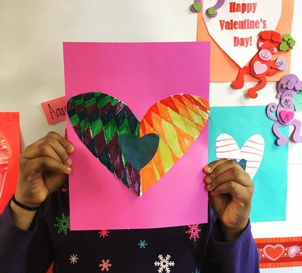 "Big thanks to  Bellewood Horticulture  for sharing this photo with LVA!  ""Ms. Annette from LVA taught our kiddos this 'heart art' project last year. The Bellewood students decided to try it again on their own. Thank you to Louisville Visual Art and Arts for Kosair Kids®  @kosaircharities  in partnership with the  @fundforthearts  for making this possible."""