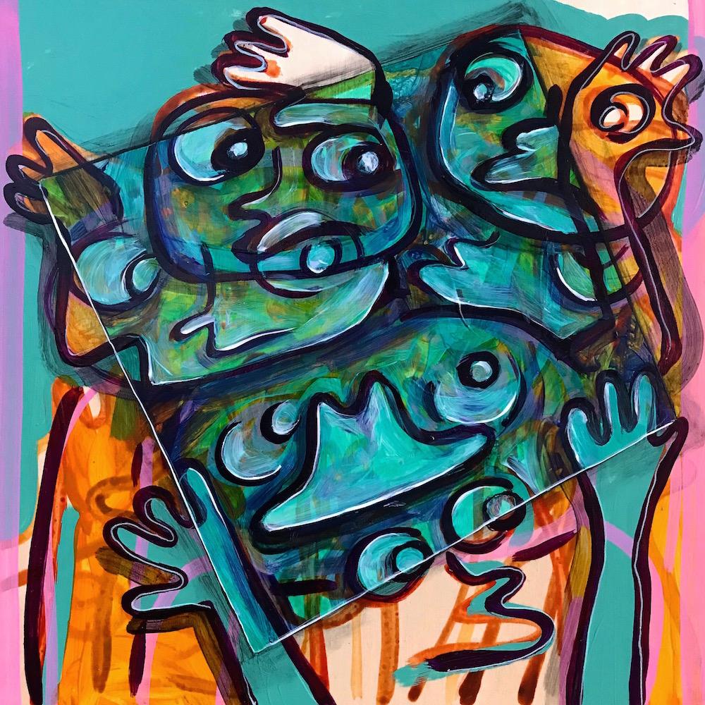 """Egress"" by Kayla Bischoff, Acrylic on birch panel, 12 x 12in, 2017, $225"
