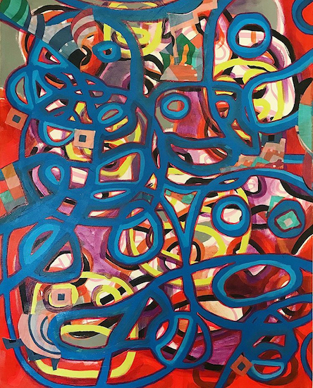 """""""Hoopla"""" by Kayla Bischoff, Acrylic on canvas,24x30in, 2018, $525"""