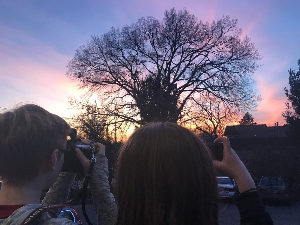 "Thanks to CFAC instructor Angela for sharing this. She wrote, ""Took a moment to chase the sunset tonight with my Louisville Visual Art CFAC class. This group is a welcomed reminder of the joy of seeing the world through a lens."""