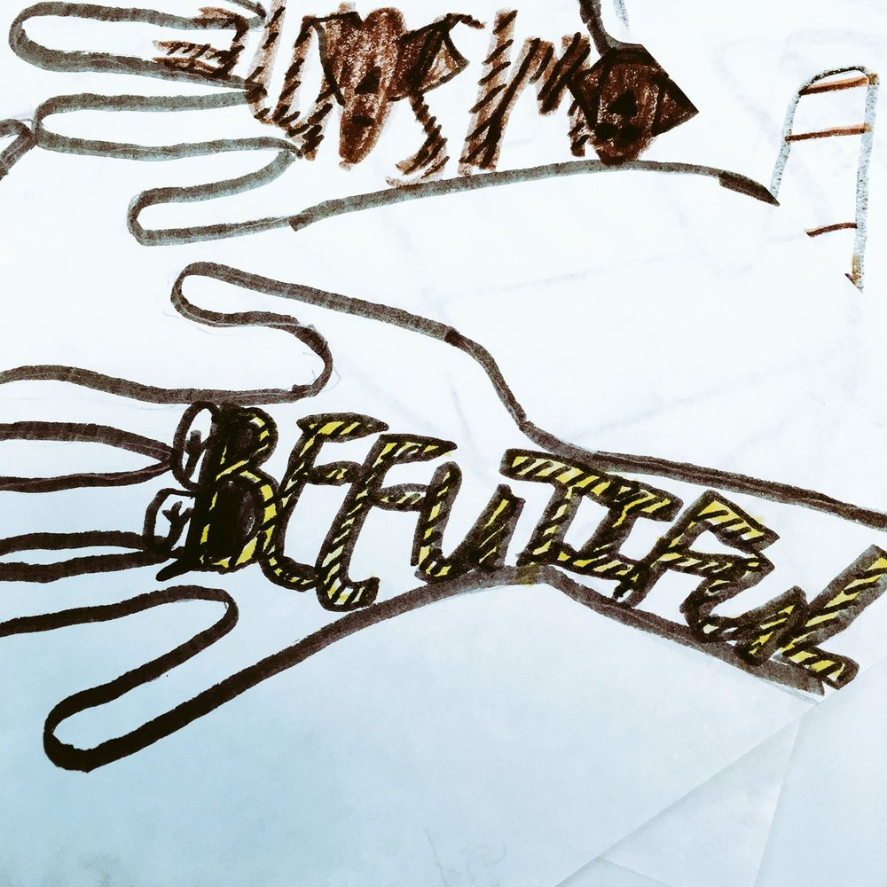 "Beeutiful art! Shared by the Bellewood School, our collaborators with Arts for Kosair Kids® in partnership with the Fund for the Arts. They say, ""This is one kiddo's hand art (a project taught to us by LVA). Students picked 4-5 words to describe themselves and although the projects aren't quite finished- we already know the artists are 'beeutiful' 🐝🐝🐝"""
