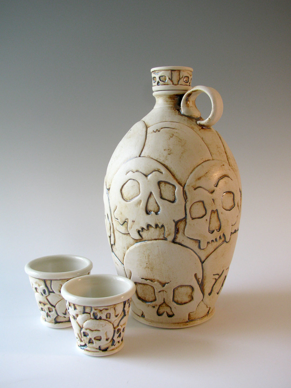 """Killing Fields Bourbon Bottle Set"" by Steven Cheek, Porcelain, 10x5x5in, 2016, POR"
