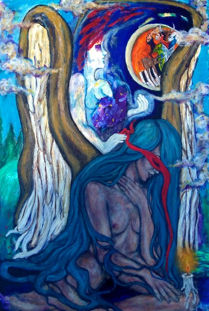 """""""The Angel and the Apparition"""" by Tracy Ippolito, Acrylic on canvas,24x36in, 2016, $950"""