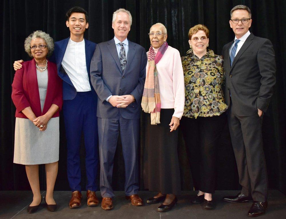 Wilma Bethel,   Vinhay   Keo, Mayor Greg Fischer, Elmer Lucille Allen, Porter Watkins, LVA Executive Director Lindy Casebier