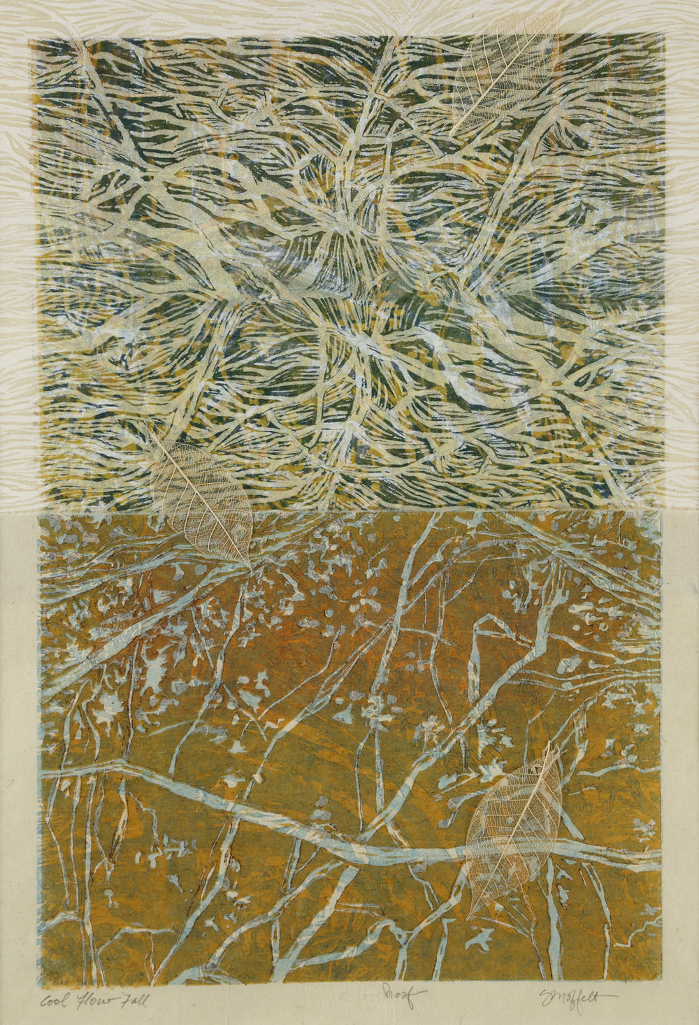 """Cool Flow, Fall"" by Susan Moffett,  Relief Monoprint Collage, 14x20in, 2016"