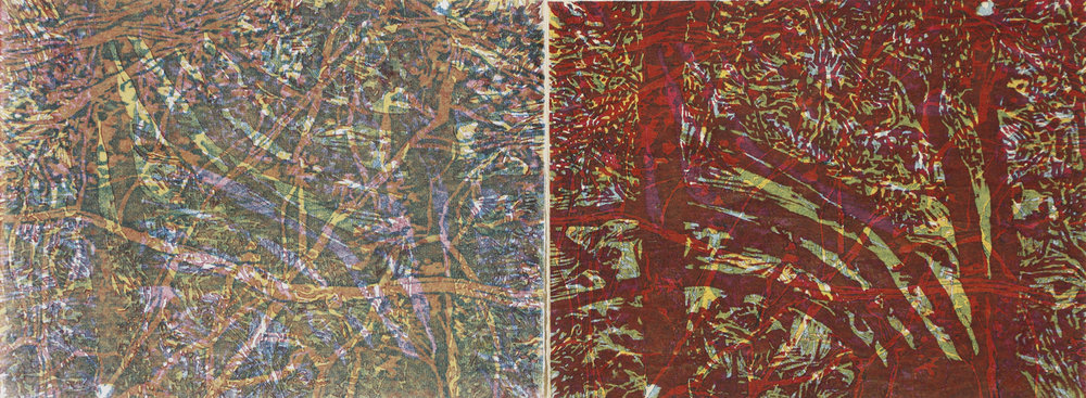 """Approaching Symmetry"" by Susan Moffett,  Relief Monoprint, 16x6in, 2016"