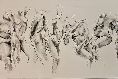 """A Transitioning"" by Elle Brown (detail), Charcoal on paper, 163x18in, 2017, POR"