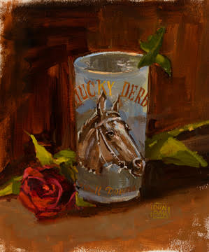 """1964 Derby Glass"" by Lynn Dunbar, Oil on canvas, 12x8in, 2017, POR"