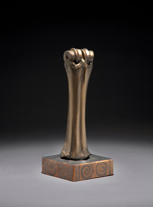 """Ceremonial Object"" by Ewing Fahey, Cow bone & painted wood base, 2011."