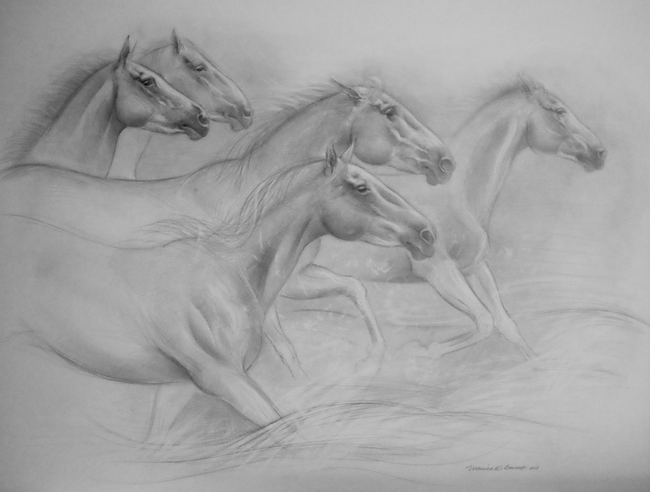 """French Camargue Ponies"" by Monica Barnett, Graphite, 40x30in, 2018, $750.00"