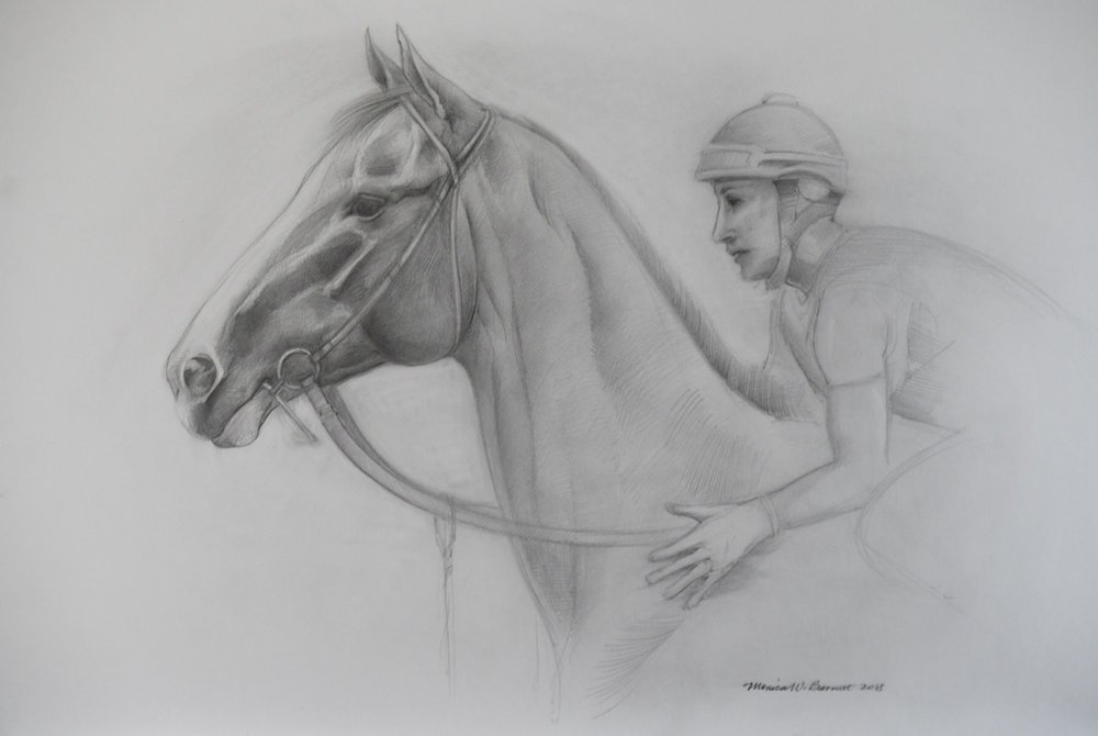 """Before the Race"" by Monica Barnett, Graphite, 30x20in, 2018, $250.00"
