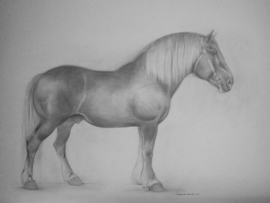 """Soviet Draft Horse"" by Monica Barnett, Graphite, 40x30in, 2018, $750.00"