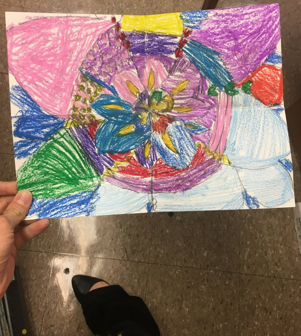 4th & 5th-grade CFAC students at King Elementary studied balance with instructor Julia. Students were allowed to use whatever medium they wanted but had to make a design that had a radial or symmetrical balance.
