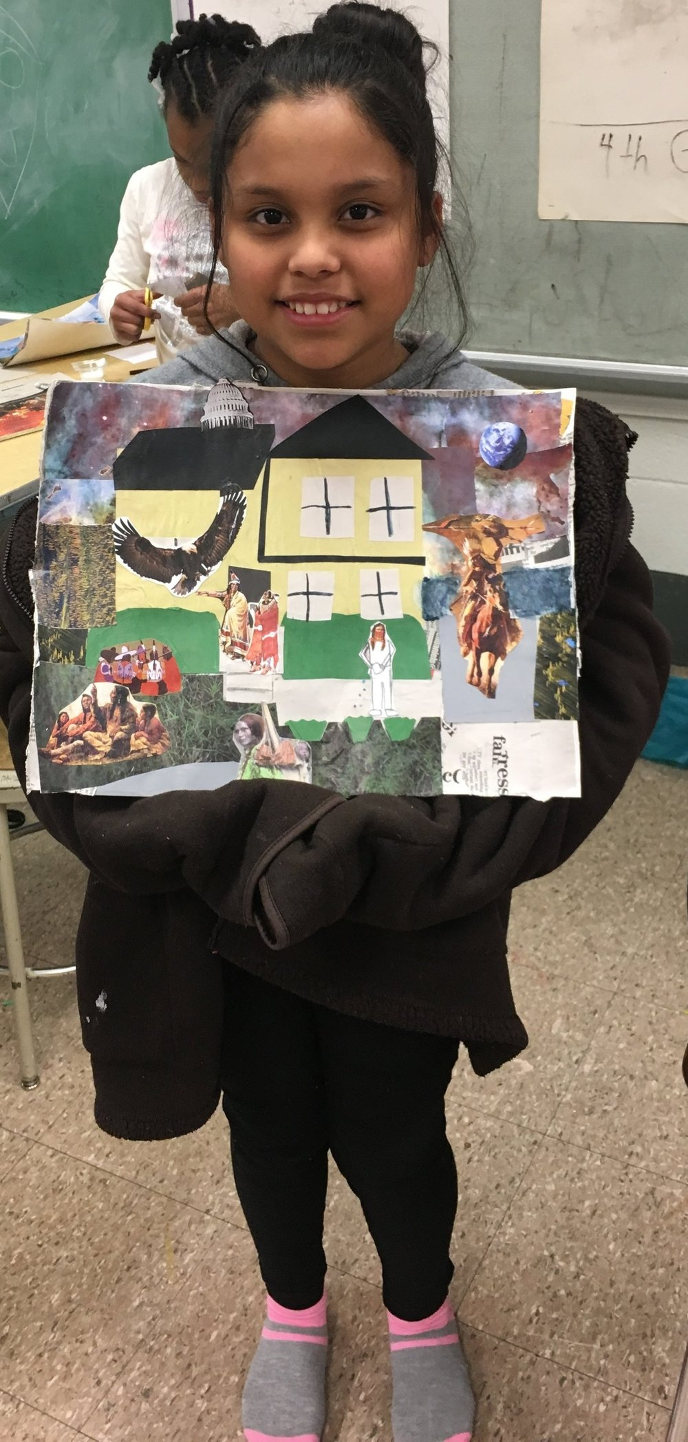 Here are more personal photos of when CFAC instructor Julia had King Elementary 4th & 5th-grade students look at Romare Bearden's collage paintings, then discussed how to make a landscape of their home.  They talked about historical figures and heroes, and what those heroes would be wearing and doing if they lived in their neighborhood. This is mainly a collage project but students were allowed to expand into other materials once they covered the whole page.