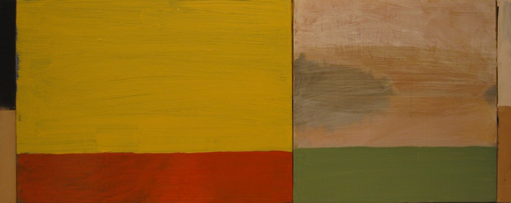 """Flattened Landscape"" by Chuck Swanson, Acrylic on panels, 12x28in, POR"